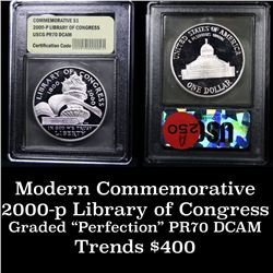 2000-p Library of Congress Modern Commem Dollar $1 Graded GEM++ Proof Deep Cameo By USCG