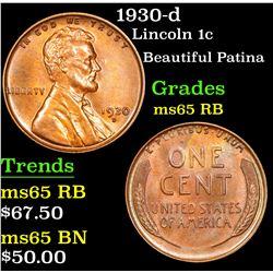 1930-d Lincoln Cent 1c Grades GEM Unc RB