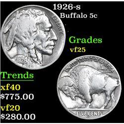 1926-s Buffalo Nickel 5c Grades vf+