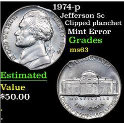 1974-p Jefferson Nickel 5c Grades Select Unc
