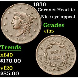 1836 Coronet Head Large Cent 1c Grades vf++
