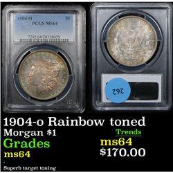 PCGS 1904-o Rainbow toned Morgan Dollar $1 Graded Choice Unc By PCGS