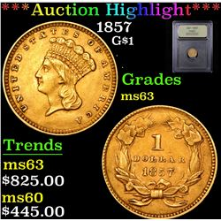 ***Auction Highlight*** 1857 Gold Dollar 1 Graded Select Unc By USCG (fc)