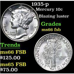 1935-p Mercury Dime 10c Grades GEM+ FSB