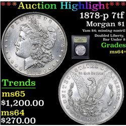 ***Auction Highlight*** 1878-p 7tf Morgan Dollar $1 Graded Choice+ Unc By USCG (fc)
