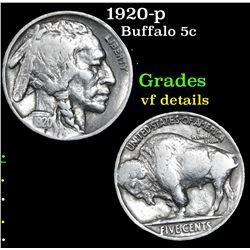 1920-p Buffalo Nickel 5c Grades vf details