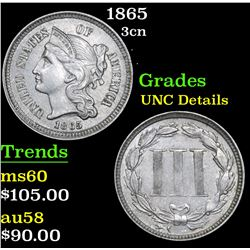 1865 Three Cent Copper Nickel 3cn Grades Unc Details