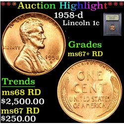 ***Auction Highlight*** 1958-d Lincoln Cent 1c Graded GEM++ RD By USCG (fc)
