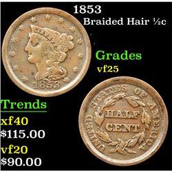 1853 Braided Hair Half Cent 1/2c Grades vf+