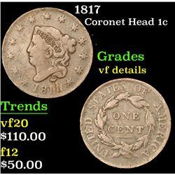 1817 Coronet Head Large Cent 1c Grades vf details