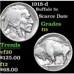 1918-d Buffalo Nickel 5c Grades f+