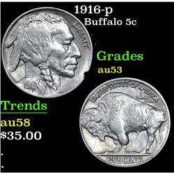1916-p Buffalo Nickel 5c Grades Select AU