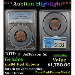 ***Auction Highlight*** PCGS 1979-p Jefferson Nickel 5c Graded ms64 RB By PCGS (fc)