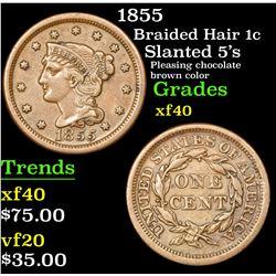 1855 Braided Hair Large Cent 1c Grades xf