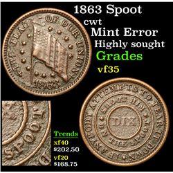 1863 Spoot Civil War Token 1c Grades vf++