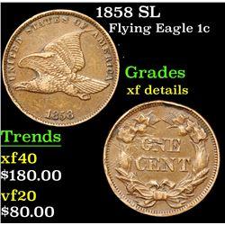 1858 SL Flying Eagle Cent 1c Grades xf details