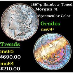 1897-p Rainbow Toned Morgan Dollar $1 Grades Choice+ Unc