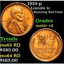 1910-p Lincoln Cent 1c Grades Choice+ Unc RD