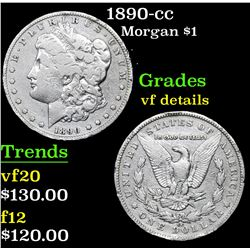 1890-cc Morgan Dollar $1 Grades vf details