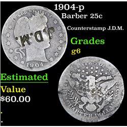 1904-p Barber Quarter 25c Grades g+