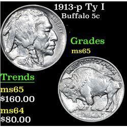 1913-p Ty I Buffalo Nickel 5c Grades GEM Unc