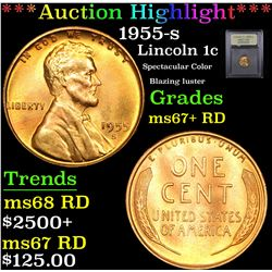 ***Auction Highlight*** 1955-s Lincoln Cent 1c Graded GEM++ RD By USCG (fc)