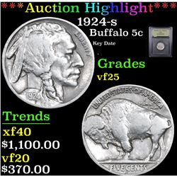 ***Auction Highlight*** 1924-s Buffalo Nickel 5c Graded vf+ By USCG (fc)