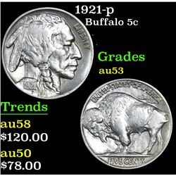 1921-p Buffalo Nickel 5c Grades Select AU