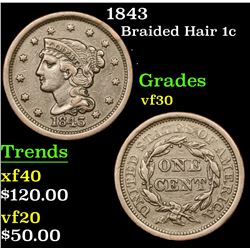 1843 Braided Hair Large Cent 1c Grades vf++