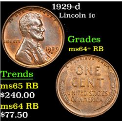 1929-d Lincoln Cent 1c Grades Choice+ Unc RB