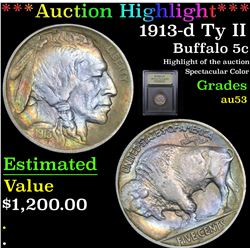 ***Auction Highlight*** 1913-d Ty II Buffalo Nickel 5c Graded Select AU By USCG (fc)