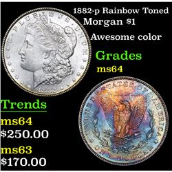 1882-p Rainbow Toned Morgan Dollar $1 Grades Choice Unc