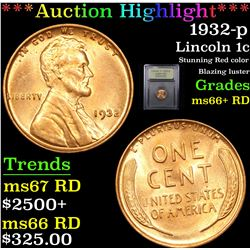 ***Auction Highlight*** 1932-p Lincoln Cent 1c Graded GEM++ RD By USCG (fc)
