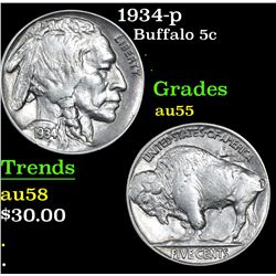 1934-p Buffalo Nickel 5c Grades Choice AU
