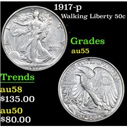 1917-p Walking Liberty Half Dollar 50c Grades Choice AU