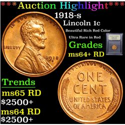 ***Auction Highlight*** 1918-s Lincoln Cent 1c Graded Choice+ Unc RD By USCG (fc)