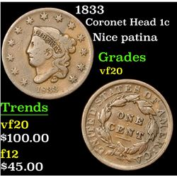 1833 Coronet Head Large Cent 1c Grades vf, very fine
