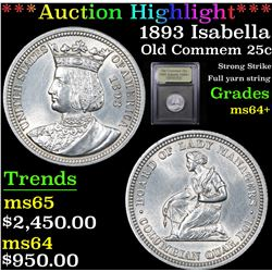 ***Auction Highlight*** 1893 Isabella Isabella Quarter 25c Graded Choice+ Unc By USCG (fc)