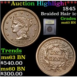***Auction Highlight*** 1845 Braided Hair Large Cent 1c Graded Select Unc BN By USCG (fc)