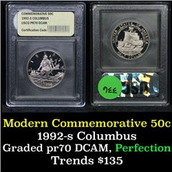 1992-s Columbus Modern Commem Half Dollar 50c Graded GEM++ Proof Deep Cameo By USCG