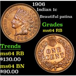 1906 Indian Cent 1c Grades Choice Unc RB
