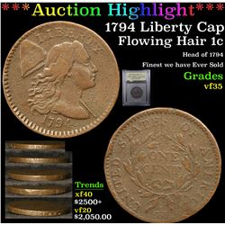 ***Auction Highlight*** 1794 Liberty Cap Flowing Hair large cent 1c Graded vf++ By USCG (fc)
