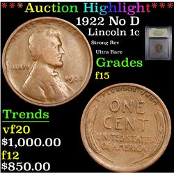 ***Auction Highlight*** 1922 No D Lincoln Cent 1c Graded f+ By USCG (fc)