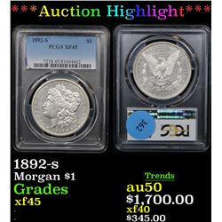 ***Auction Highlight*** PCGS 1892-s Morgan Dollar $1 Graded xf+ By PCGS (fc)