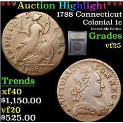 ***Auction Highlight*** 1788 Connecticut Colonial Cent 1c Graded vf+ By USCG (fc)