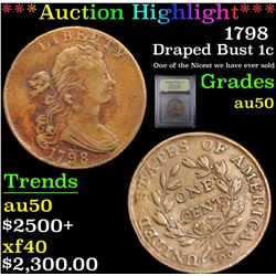 ***Auction Highlight*** 1798 Draped Bust Large Cent 1c Graded AU, Almost Unc By USCG (fc)