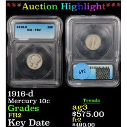 ***Auction Highlight*** 1916-d Mercury Dime 10c Graded g4 By ICG (fc)