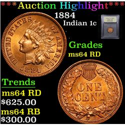 ***Auction Highlight*** 1884 Indian Cent 1c Graded Choice Unc RD By USCG (fc)