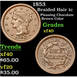 1853 Braided Hair Large Cent 1c Grades xf