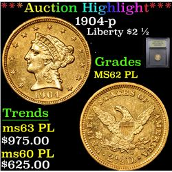 ***Auction Highlight*** 1904-p Gold Liberty Quarter Eagle $2 1/2 Graded Select Unc PL By USCG (fc)